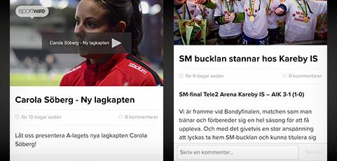 Nytt: Videor, nyheter, bilder med mera direkt i laget.se-appen